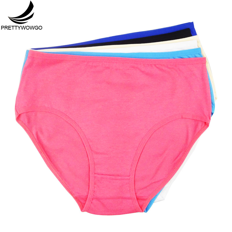 Prettywowgo Wholesale Women's Clothing High-Rise Cozy Solid Color Women Plus Size Cotton Briefs   Panties   6955