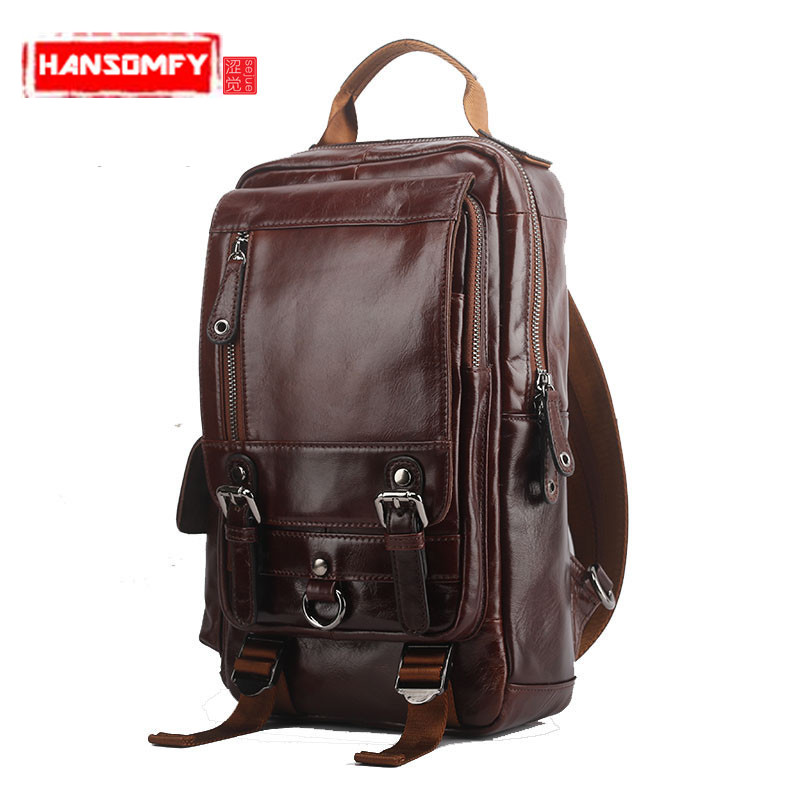 New Genuine leather Men Backpacks shoulder bag men fashion leisure travel large capacity first layer oil wax cowhide Bags 2015 new vintage oil wax genuine leather men handbag leisure out door travel hiking camp sport gym laptop shoulder bags