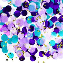 где купить METABLE 2 oz Round Tissue Paper Table Confetti Dots for Mermaid Birthday Party Decoration, (Purple Teal Confetti, 2.5 cm) по лучшей цене