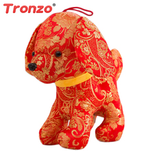 Tronzo 2018 Dog Year Kawaii China Dress Mascot Plush Dog Soft Toys Chinese New Year Party Decoration Gift For Children Girl