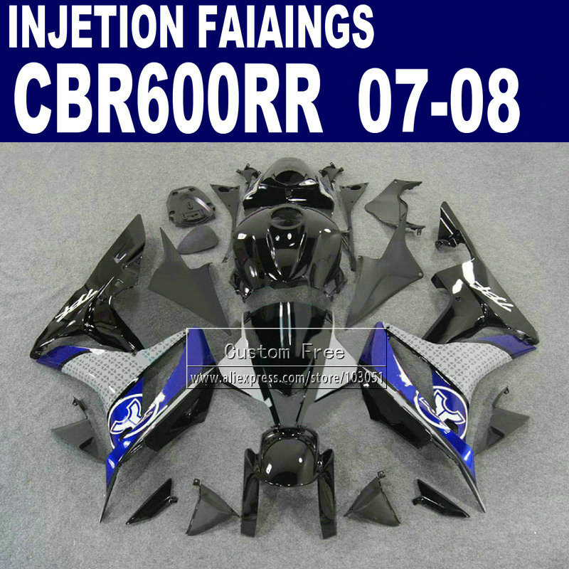 Injection fairings kit for Honda 600 RR F5 fairing set 07 08 CBR 600RR CBR 600 RR 2007 2008 blue black motorcycle bodywork part full fairings for honda cbr cbr600rr f5 year 13 14 2013 2014 abs plastic motorcycle fairing kit bodywork cowling asia pata