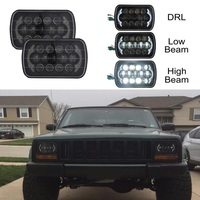 1Pair 105W 5X7 7X6inch Sealed Beam Rectangular LED Headlight With DRL for Jeep Wrangler YJ Cherokee XJ H6014 H6052 H6054
