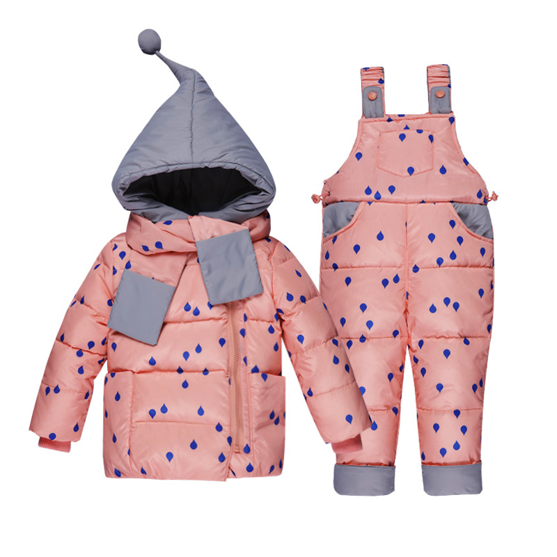 2018 Baby Kids Casual Down Clothing Sets Baby Girls Winter Rain Printing Jacket+Pant Two-piece Babe Boys Hooded Warm Set 2015 new autumn winter warm boys girls suit children s sets baby boys hooded clothing set girl kids sets sweatshirts and pant