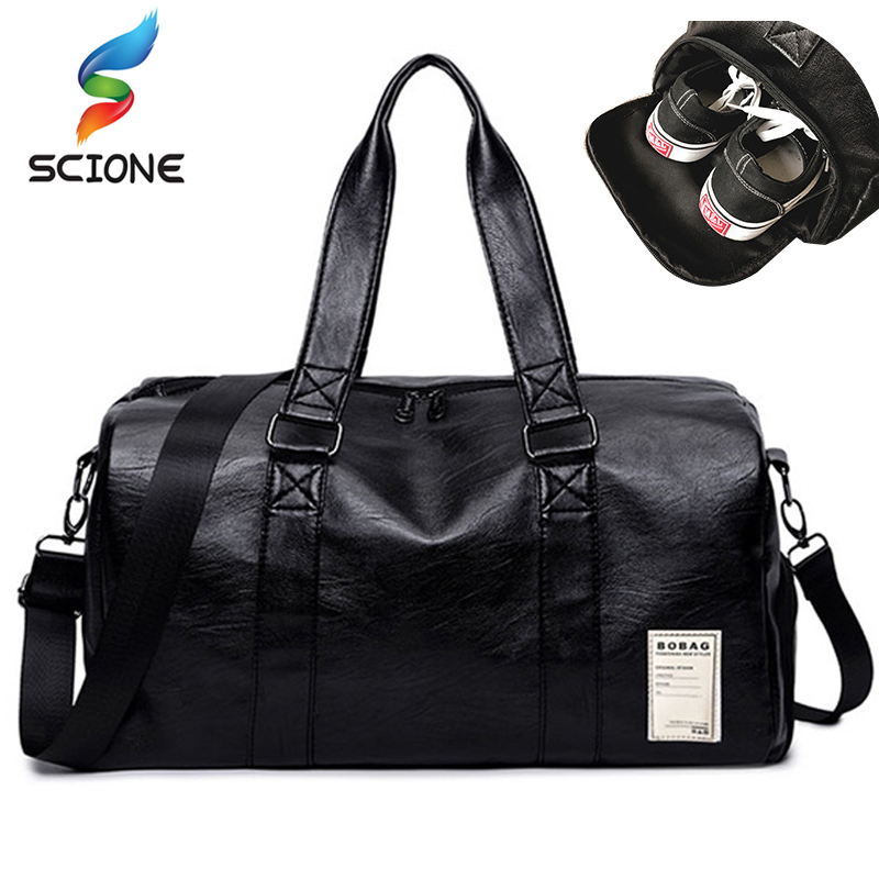 Outdoor Waterproof Top PU Leather Men Sports Gym Bags Training Shoulder Bag  With Shoes Pocket Women 60ae183019b53