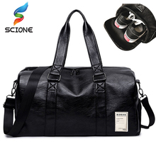 Outdoor Waterproof Top PU Leather Men Sports Gym Bags Training Shoulder Bag With Shoes Pocket Women