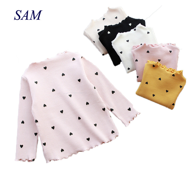 Tops T-Shirt Long-Sleeve Baby-Girls Autumn Kids Children's Casual Love-Heart Bottoming