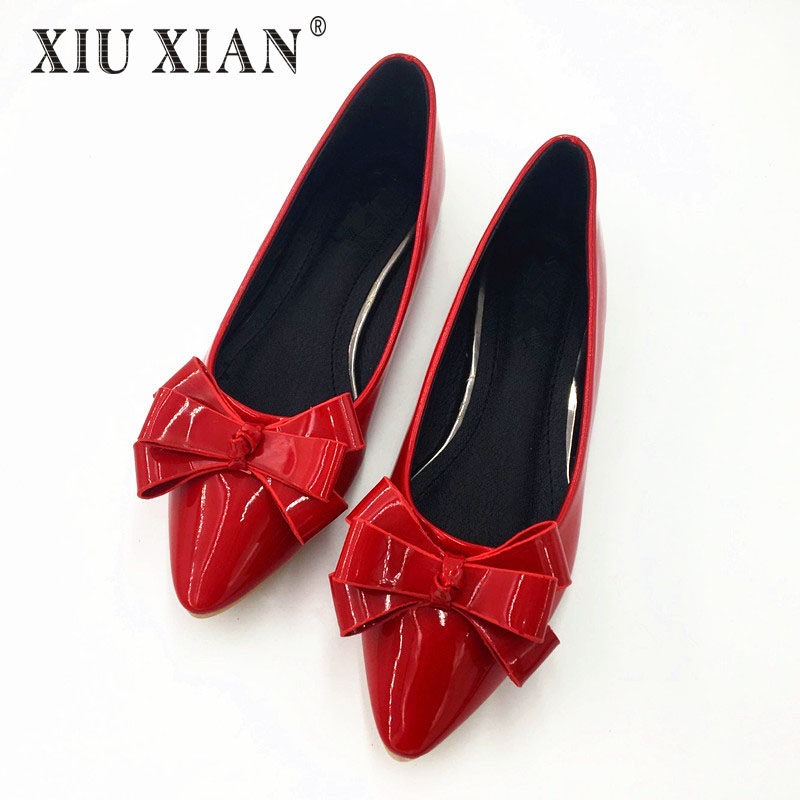 Spring Summer 2017 Women Pointed Toe Flats Bow Shoes Women Low Heel Casual Flats Black Red Pink Leather Flats Slip on Shoes Bow spring summer women leather flat shoes 2017 sweet bowtie flats women shoes pointed toe slip on ladies shoes low heel shoes pink