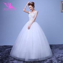 AIJINGYU 2021 فساتين جديدة رائجة البيع ثوب كرة رخيصة الدانتيل حتى الظهر فساتين العروس الرسمية فستان الزفاف WK659