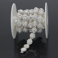 1 Yard Silver Golden Flower Shining Rhinestone Strass Chain Sewing Accessories For Clothing Wedding Dress Applique