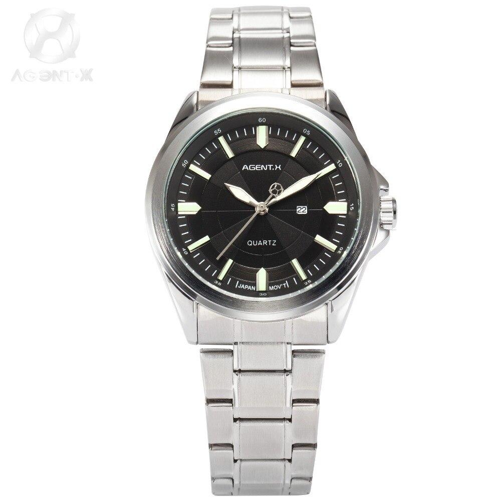 Relogio Masculino Mens Watches Top Brand Luxury AGENTX Business Black Green Date Display Sport Wristwatch Quartz Watch / AGX126 agentx relogio agx026