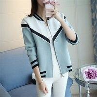 2018 Spring Women S Short Jacket Knitted Cardigan Jersey Baseball Jacket Korean Fashion Zipper Knitwear Slim