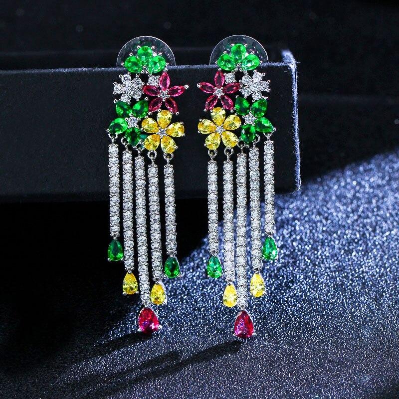 CWWZircons Noble Multi Color Flower Dangling CZ Stone Long Big Tassel Drop Earring for Women Luxury Cubic Zirconia Jewelry CZ046