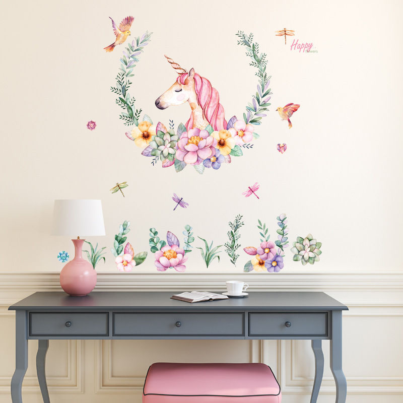 Eva2king Removable Unicorn Flower Stickers Beautiful Creative DIY Art Sticker For Kid Girl Room Living Room Gifts Decals