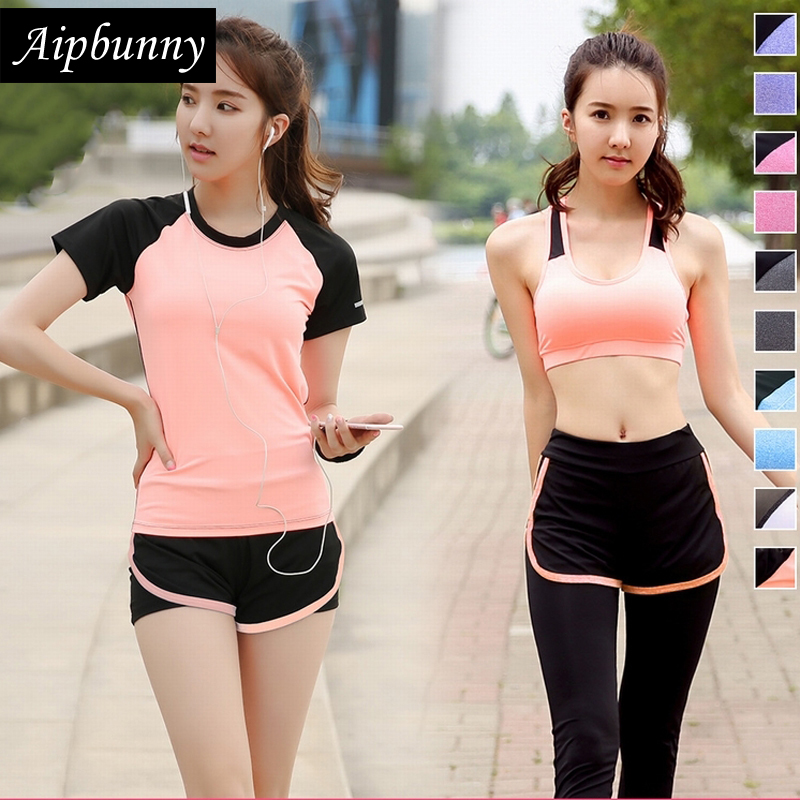 Aipbunny 4 Pieces Yoga Sets 2017 Gym Fitness Women Exercise Activewear Running Suits Plus size XXXL Workout Clothing SportsWear