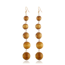 Natural Color Wood Tassel Long Drop Earrings For Women Simple Style Ball String Dangle Statement Brincos Fit Party Jewelry