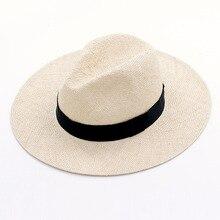 Chapeau dété unisexe en Sisal naturel, fait à la main, chapeau de soleil à large bord, paille Trilby Fedora authentique Havana, casquette de Jazz de plage