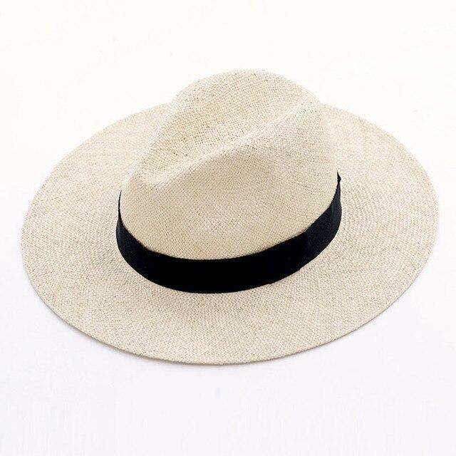 Unisex Handgemachte Natürliche Sisal Sommer Hut für Frauen Männer Breite Krempe Sonnenhut Hut Trilby Stroh Fedora Echtem Havanna Retro Strand jazz Kappe