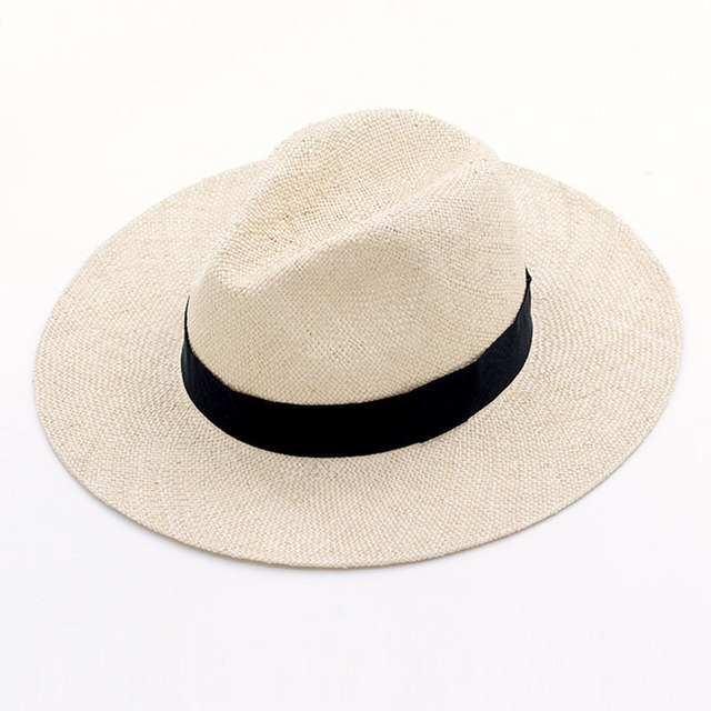 Unisex Handmade Naturale Sisal Cappello di Estate per le Donne Degli Uomini Cappello Da Sole Tesa Larga di Paglia Trilby Fedora Genuino Havana Retro Beach della Protezione di Jazz