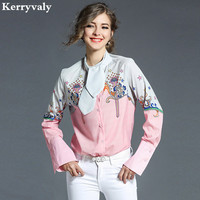 Spring Bandage Print Pink Shirt Women Tops Blusas Mujer De Moda 2017 Loose Long Sleeved Shirt