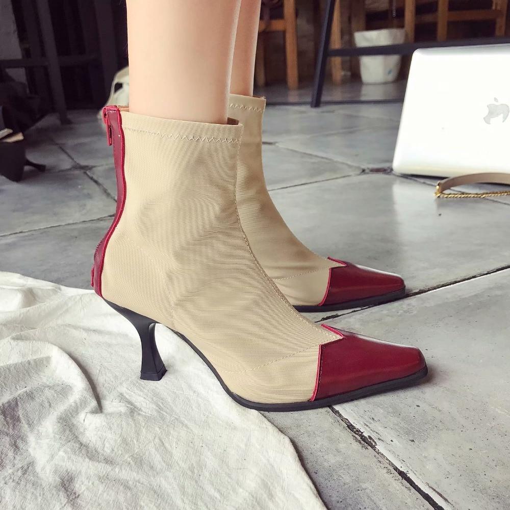 Femmes Mode Automne Dames Chaussures Cheville Cuir De Bottes Date w4T7F