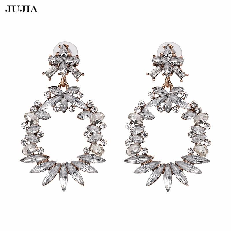 JUJIA Brand Romantic Women Crystal Jewelry Statement Vintage Drop Dangle Charm Fashion Earrings Bijoux