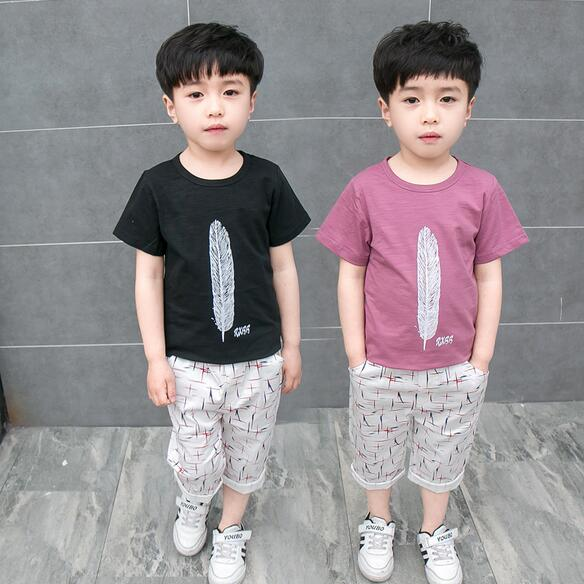 198a97328 2Pcs Summer Baby Boys Suit Short Sleeve Shirt Tops Pants Outfits Kids  Clothes Cotton O-Neck Children Clothes JMFFY Feather 2-9T