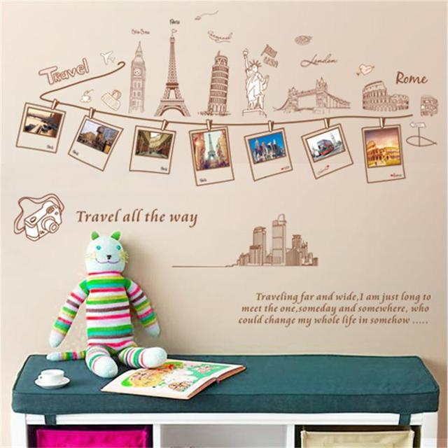 Creative Travel Around The World Building Wall Stickers Home Decor Living Room Posters Diy Removable Sofa
