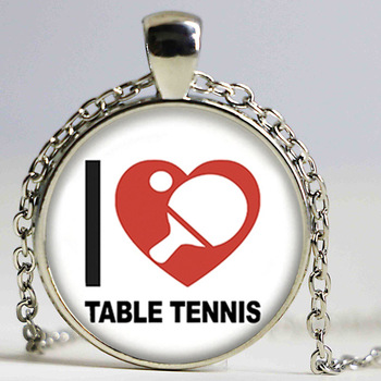 New Table Tennis Necklace I Love Pingpong Jewelry Glass Dome Photo Pendant Handmade Accessory Gifts Men image
