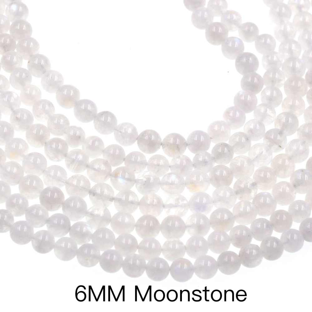 Fahsion diy loose bead 6mm White Moonstone Loose Beads Full Strand