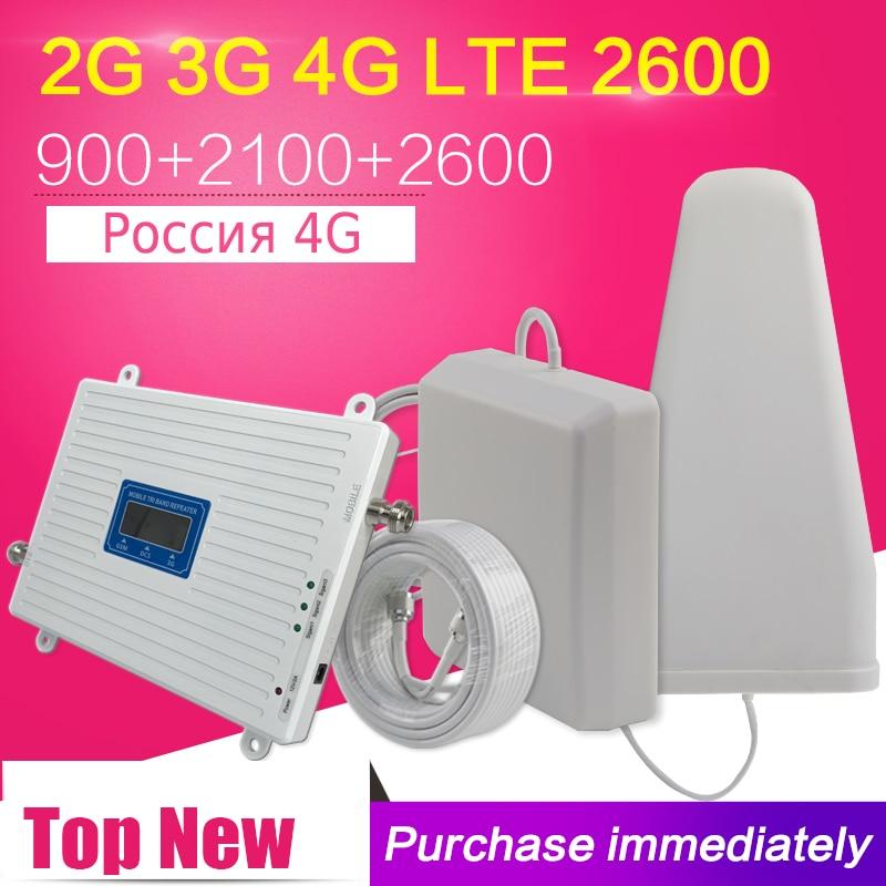 La russie 4g LTE 2600 2g 3g 4g Mobile Amplificateur de Signal Cellulaire 70dB GSM 900 WCDMA 2100 LTE 2600 Répéteur de Signal De Téléphone cellulaire Antenne