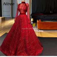 High Neck Long Sleeves Red Elegant Formal Prom Evening Dresses Muslim Dubai Abiye Robe De Soiree Sequins Dubai Turkish Vestido