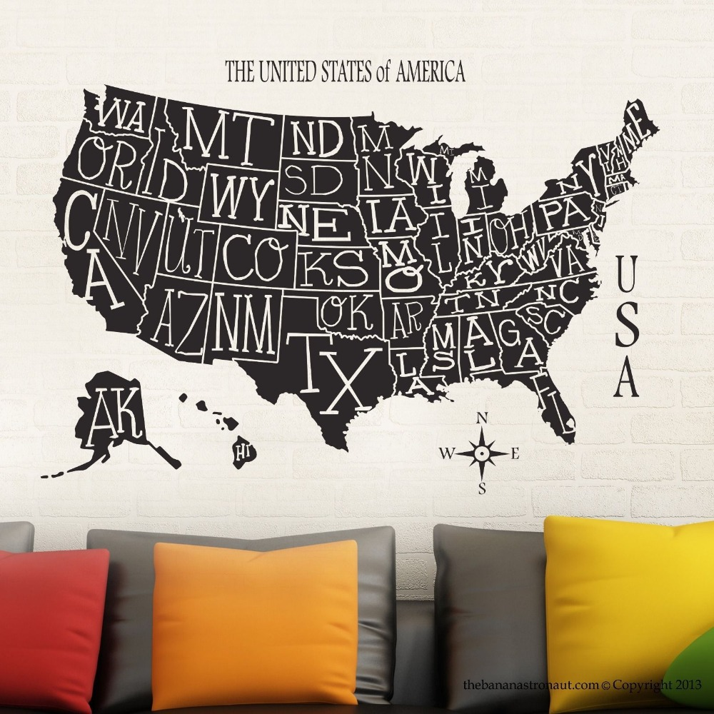 New Arrival Free Shipping Wallpaper Usa Map Sticker Decal Muurstickers Posters Vinyl Wall Decals Decor Mural Usa Map Sticker