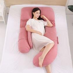 Oreiller en forme de U pour les traverses latérales | Protection du ventre des oreillers de grossesse, confortable coton maternité femmes enceintes, oreiller 1 pièce