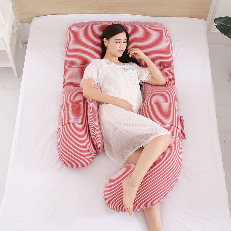 U Shape Body Pillow For Side Sleepers Abdomen Protect Pregnancy Pillows Comfortable Cotton Maternity Pregnant Women Pillow 1pc
