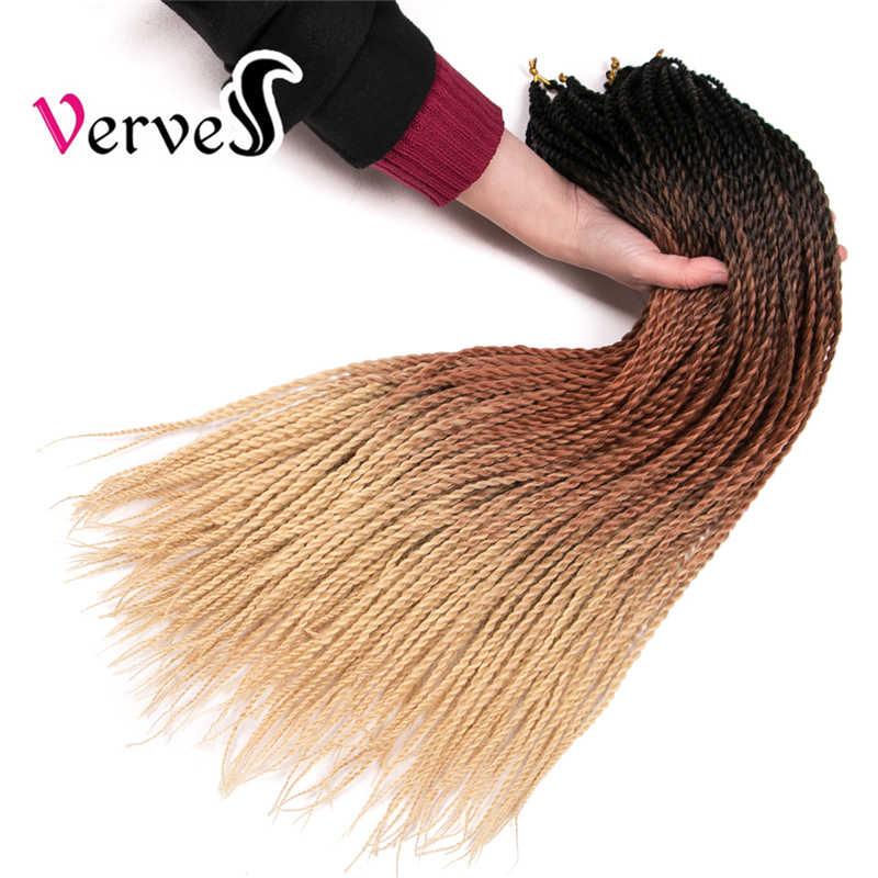 VERVES4 Омбре Сенегальские вьющиеся волосы крючком косы 24 дюймов 30 корней/упаковка синтетическое плетение волос Серый, Бонд, розовый, коричневый