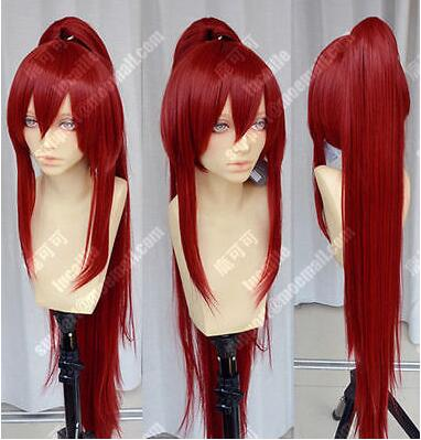 LY&CS Cheap sale dancing party cosplays>>>FAIRY TAIL Erza Scarlet Burgundy Cosplay Anime Wig one Ponytail