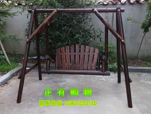 Hanging Chair Wood White Garden Chairs For Weddings 24 Wooden Swing Rocking Carbonized Rustic Flavor Of The Outdoor Park
