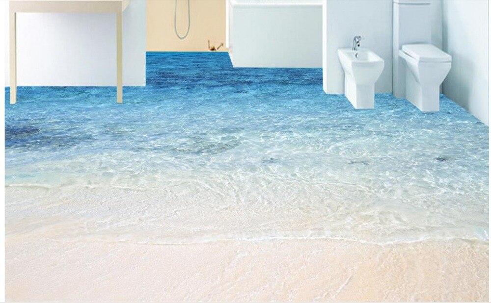 ФОТО 3d flooring wallpaper pvc custom 3d stereoscopic Sandy beach wallpaper waterproof 3d floor tiles for bathrooms