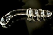 Pyrex glass dildo fake penis crystal anal beads butt