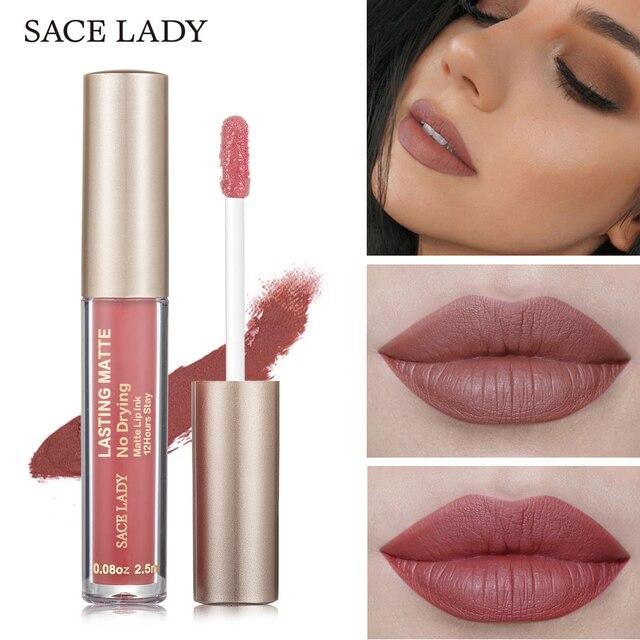 SACE LADY Matte Lipstick Makeup 19 Color Liquid Lipstick Red Nude Lip Tint Moisturizing Make Up Waterproof Long Lasting Cosmetic
