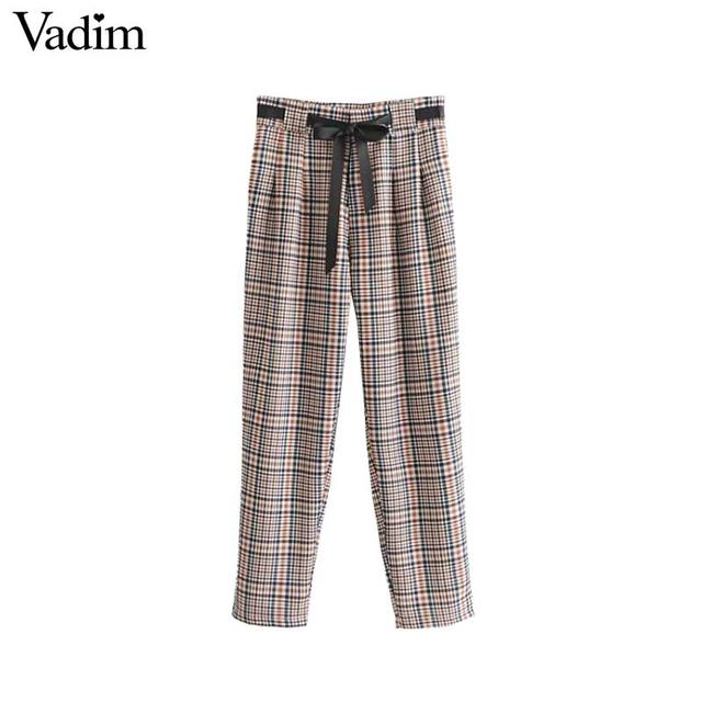 Vadim women plaid harem pants bow tie sashes paperbag waist pockets pleated ladies casual chic trousers pantalones KA354