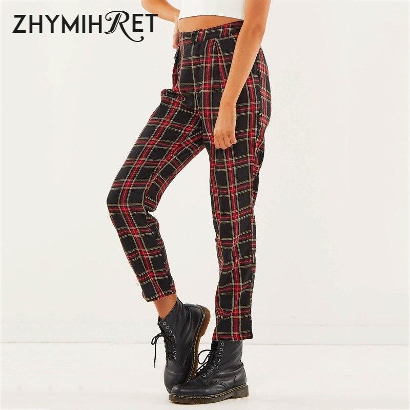 ZHYMIHRET Spring Cotton Red Plaid Pants Women Straight Ankle-Length Capris Casual Mid Waist Harem Trousers Pantalon Femme