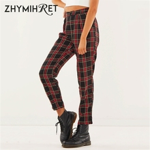 ZHYMIHRET Spring Cotton Red Plaid Pants Women Straight Ankle-Length Cap