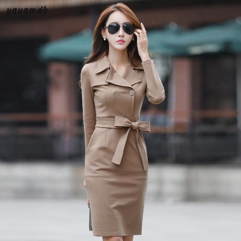 3b599f2f4b0b6 US $32.83 45% OFF|YAUAMDB women dress autumn winter size S 2XL ladies  office wear Long Sleeve dress Package Hip vestido female Windbreaker  y105-in ...