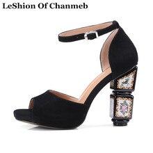 6f6ba6d1fc Flores moda Grossas Sandálias de Salto Alto Mulheres Do Partido Tamanho  Grande 43 sapatos Pretos com