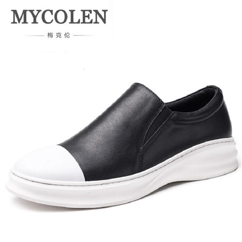 MYCOLEN Men Breathable Casual Shoes British Style Fashion Mens Flat Comfortable Slip-On Loafers Male Shoes Herenschoenen Loafers new 2017 men s genuine leather casual shoes korean fashion style breathable male shoes men spring autumn slip on low top loafers