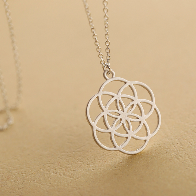 Drop shipping silver mandala necklace flower of life pendant drop shipping silver mandala necklace flower of life pendant kabbalah sacred geometry nekclace for women birthday mozeypictures Gallery