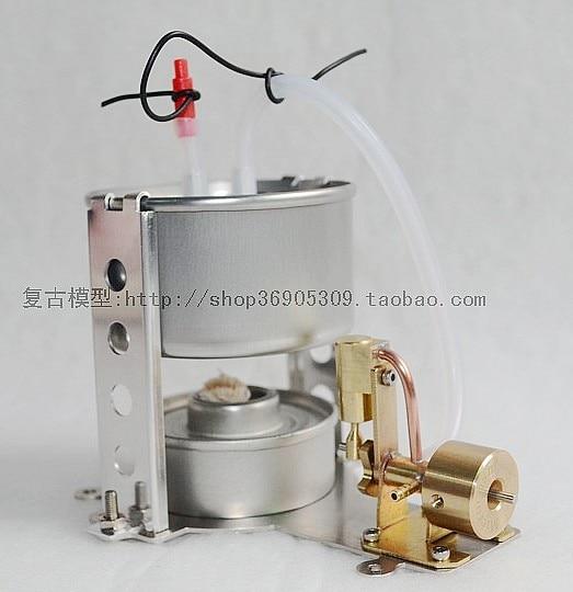 brass Single-cylinder  Ventilation  Steam engine model Live SteamEngine Mechanical metal toys horizontal double cylinder steam engine model