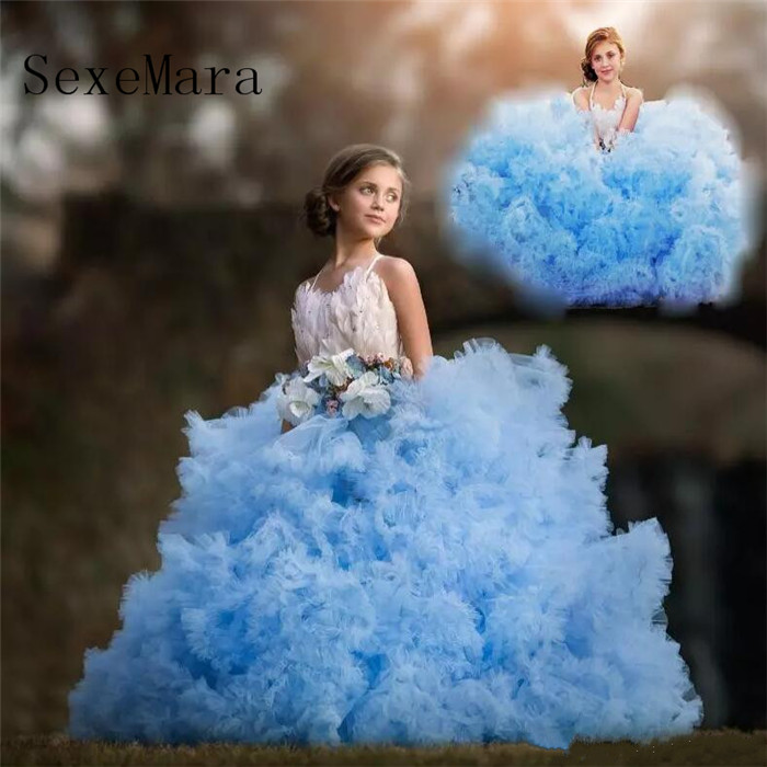 Cloud Blue   Girls   Pageant   Dress   Lovely Crystal Luxury Feather Communion   Dress   Bow Puffy Tiered   Flower     Girls     Dresses   Birthday Gown