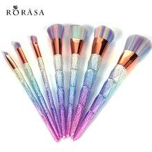 7pcs/10Pcs Professional Diamond Rainbow Handle Kabuki Make up Brush Set Face Foundation Face Powder Eye maquiagem Cosmetic Tools